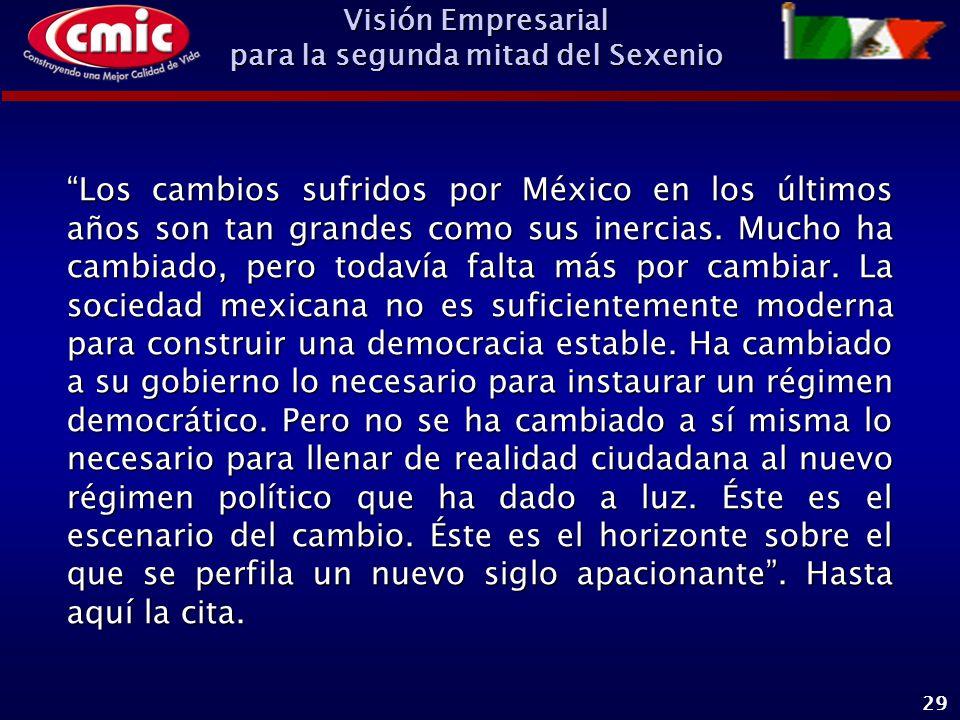 Visión Empresarial para la segunda mitad del Sexenio 29 Los cambios sufridos por México en los últimos años son tan grandes como sus inercias.