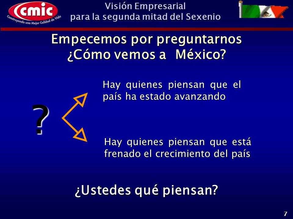Visión Empresarial para la segunda mitad del Sexenio 7 Empecemos por preguntarnos ¿Cómo vemos a México.