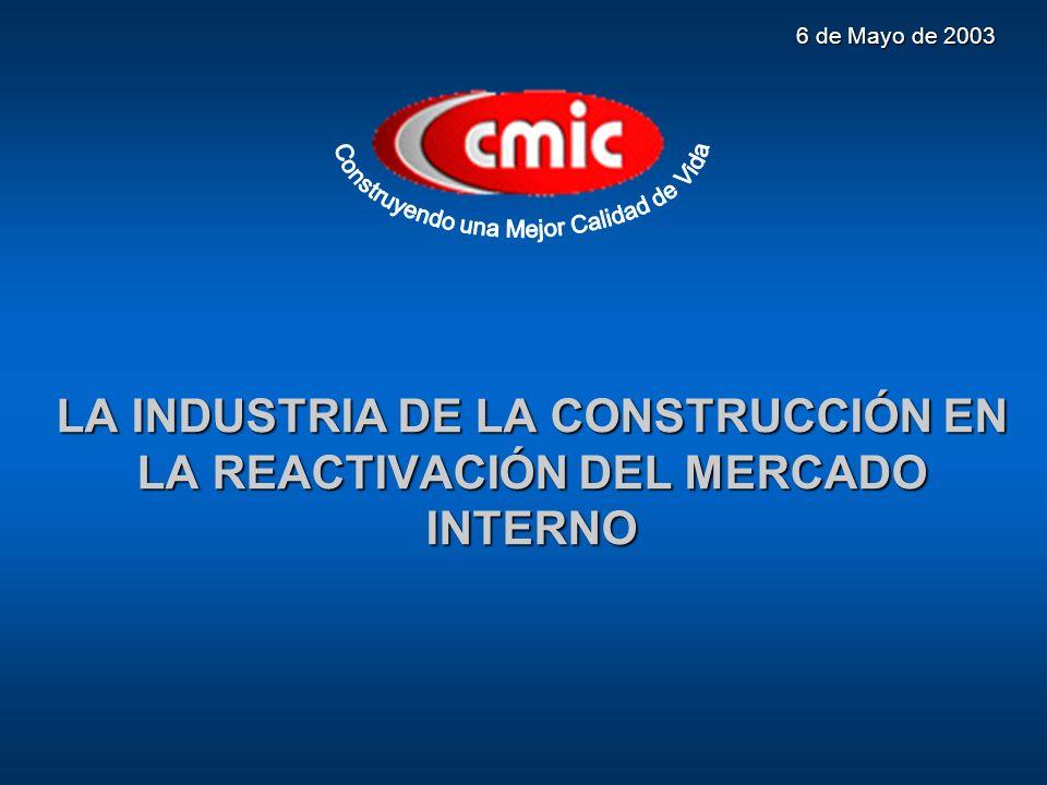 LA INDUSTRIA DE LA CONSTRUCCIÓN EN LA REACTIVACIÓN DEL MERCADO INTERNO El país tiene un problema estructural, ¿Cómo financiar su desarrollo?.