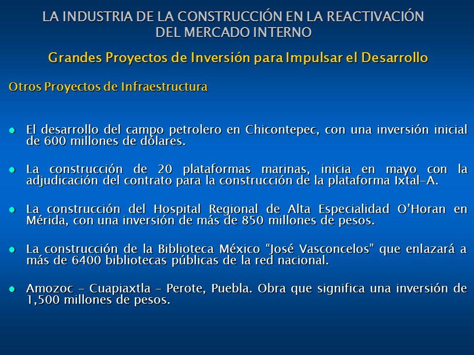 Grandes Proyectos de Inversión para Impulsar el Desarrollo Otros Proyectos de Infraestructura El desarrollo del campo petrolero en Chicontepec, con una inversión inicial de 600 millones de dólares.