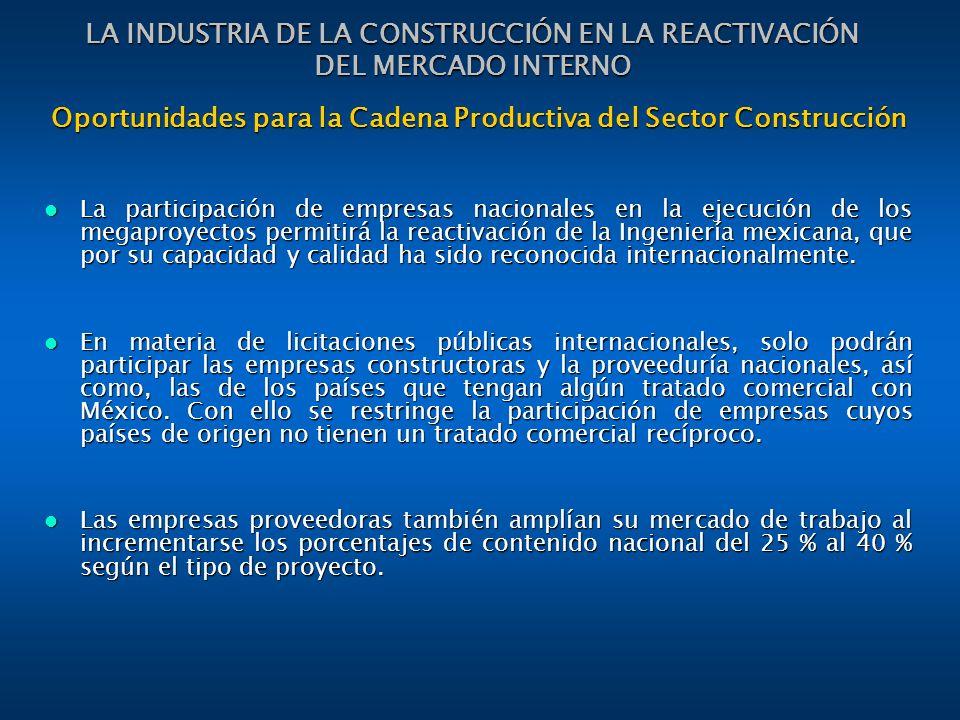 Oportunidades para la Cadena Productiva del Sector Construcción La participación de empresas nacionales en la ejecución de los megaproyectos permitirá