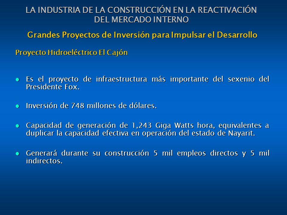 Grandes Proyectos de Inversión para Impulsar el Desarrollo Proyecto Hidroeléctrico El Cajón Es el proyecto de infraestructura más importante del sexenio del Presidente Fox.