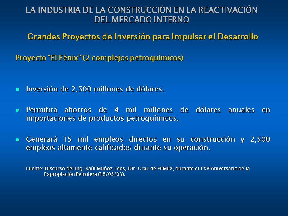 LA INDUSTRIA DE LA CONSTRUCCIÓN EN LA REACTIVACIÓN DEL MERCADO INTERNO Grandes Proyectos de Inversión para Impulsar el Desarrollo Proyecto El Fénix (2