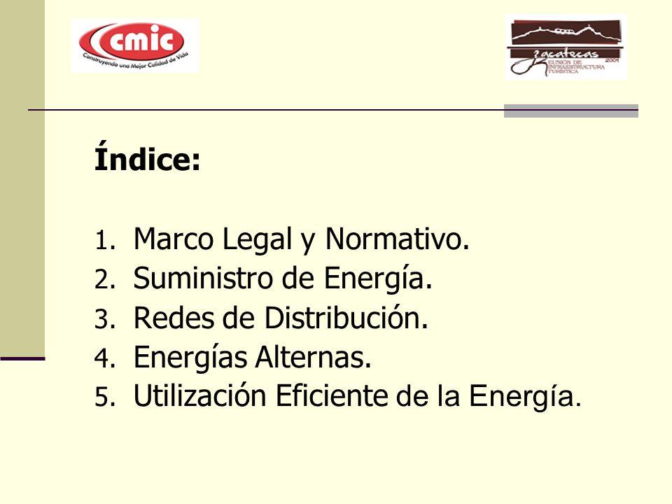 Índice: 1. Marco Legal y Normativo. 2. Suministro de Energía. 3. Redes de Distribución. 4. Energías Alternas. 5. Utilización Eficiente de la Energía.