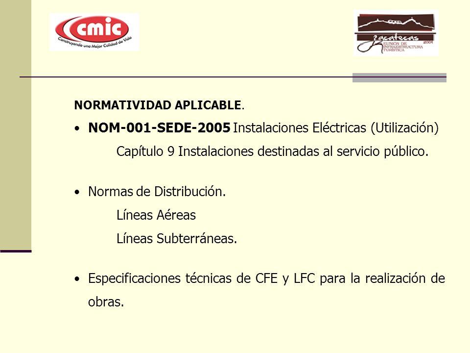 NORMATIVIDAD APLICABLE. NOM-001-SEDE-2005 Instalaciones Eléctricas (Utilización) Capítulo 9 Instalaciones destinadas al servicio público. Normas de Di