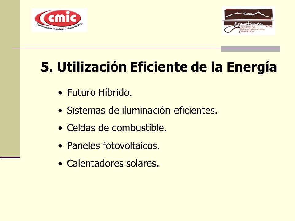 5. Utilización Eficiente de la Energía Futuro Híbrido. Sistemas de iluminación eficientes. Celdas de combustible. Paneles fotovoltaicos. Calentadores