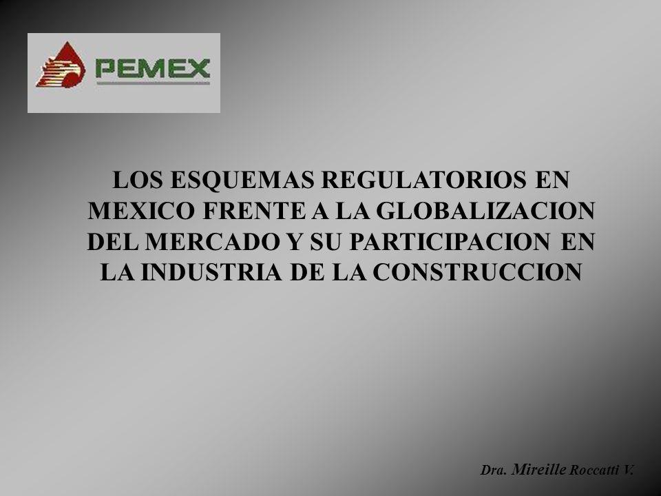 LOS ESQUEMAS REGULATORIOS EN MEXICO FRENTE A LA GLOBALIZACION DEL MERCADO Y SU PARTICIPACION EN LA INDUSTRIA DE LA CONSTRUCCION Dra. Mireille Roccatti