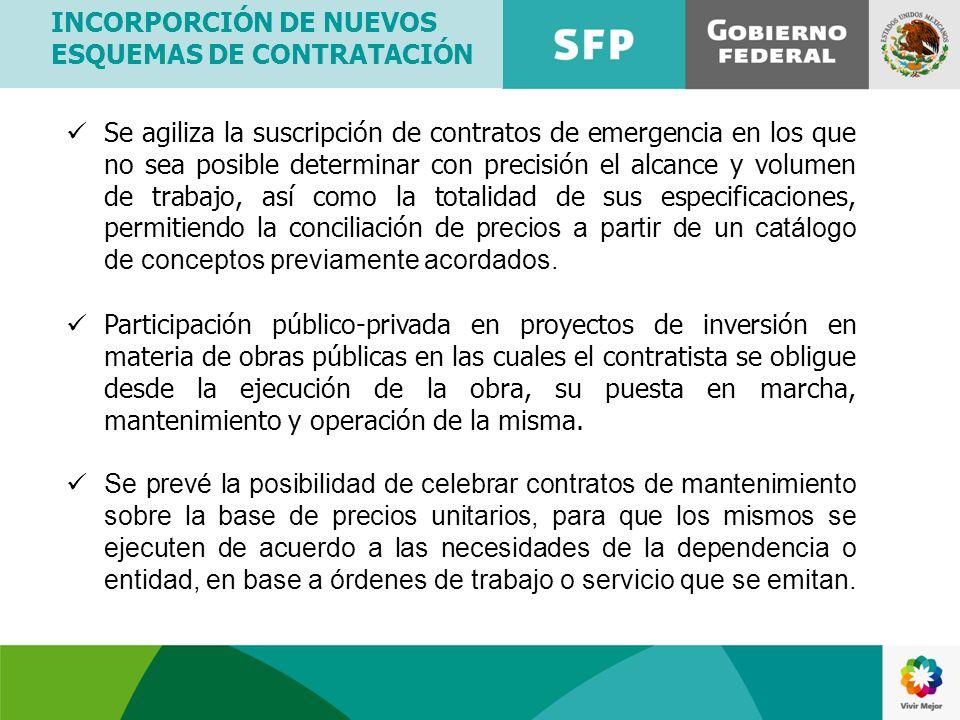 INCORPORCIÓN DE NUEVOS ESQUEMAS DE CONTRATACIÓN Se agiliza la suscripción de contratos de emergencia en los que no sea posible determinar con precisió