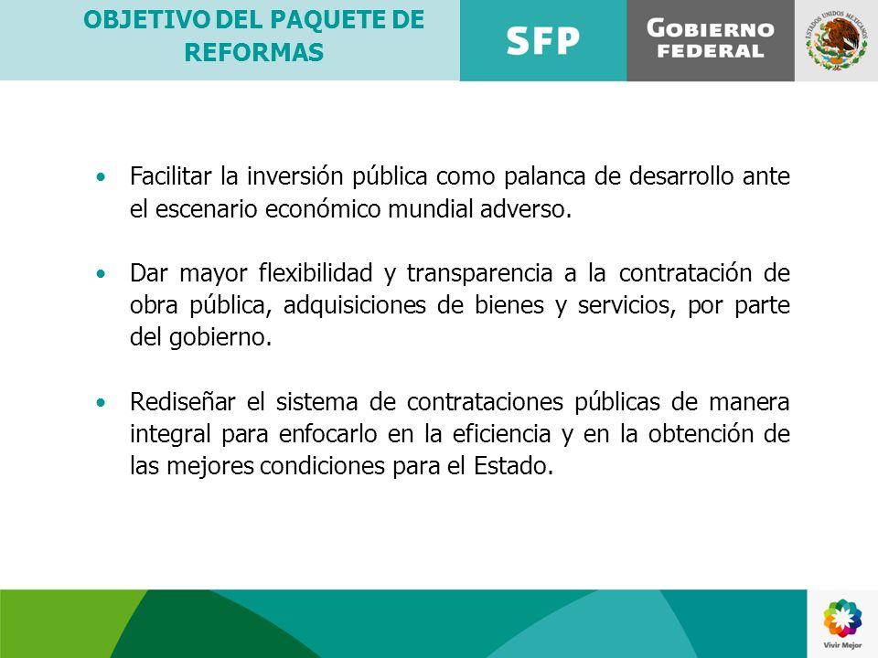 OBJETIVO DEL PAQUETE DE REFORMAS Facilitar la inversión pública como palanca de desarrollo ante el escenario económico mundial adverso. Dar mayor flex