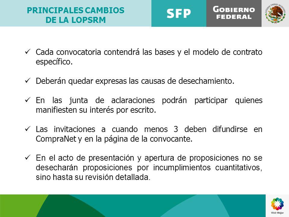 Cada convocatoria contendrá las bases y el modelo de contrato específico. Deberán quedar expresas las causas de desechamiento. En las junta de aclarac
