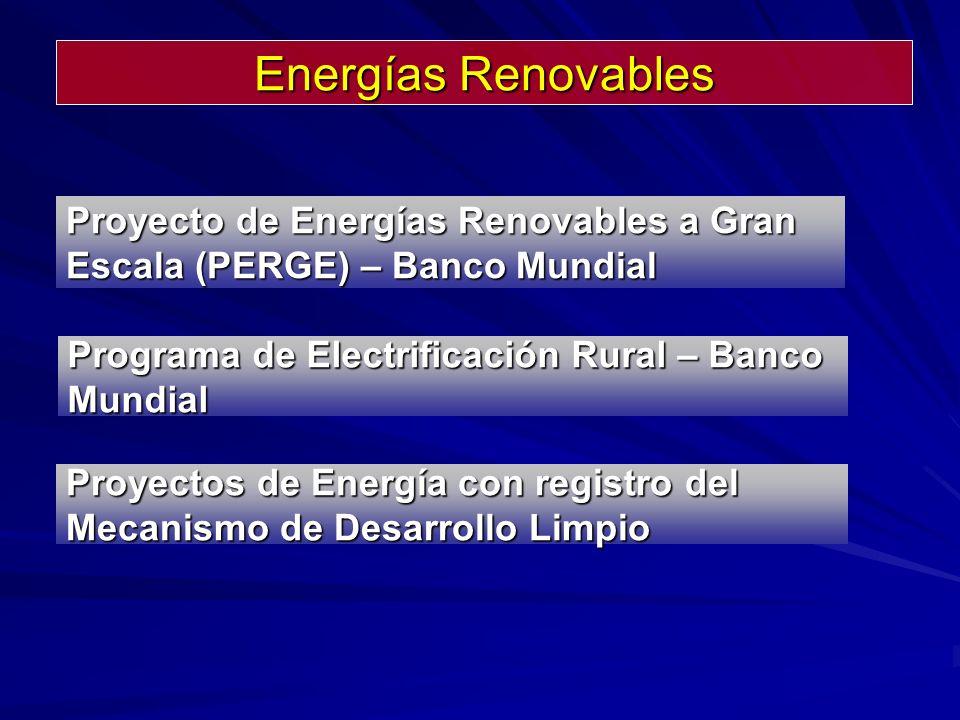 Proyectos de Energía con registro del Mecanismo de Desarrollo Limpio Programa de Electrificación Rural – Banco Mundial Proyecto de Energías Renovables a Gran Escala (PERGE) – Banco Mundial Energías Renovables