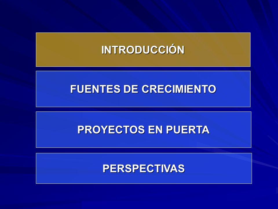 INTRODUCCIÓN FUENTES DE CRECIMIENTO PROYECTOS EN PUERTA PERSPECTIVAS