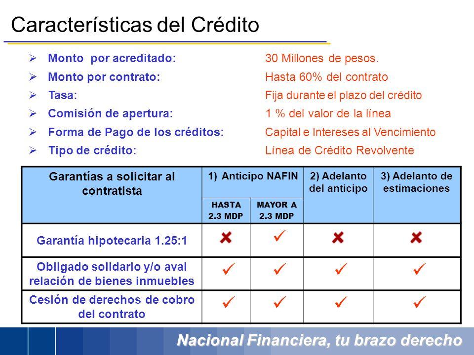 Nacional Financiera, tu brazo derecho Monto por acreditado: 30 Millones de pesos. Monto por contrato:Hasta 60% del contrato Tasa: Fija durante el plaz