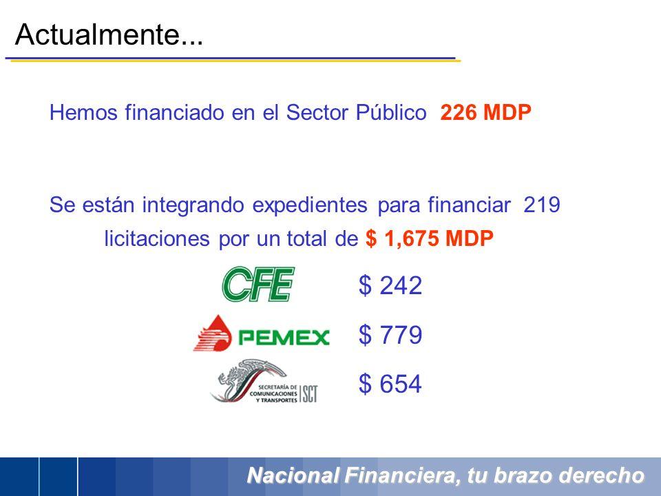 Nacional Financiera, tu brazo derecho Actualmente... Hemos financiado en el Sector Público 226 MDP Se están integrando expedientes para financiar 219
