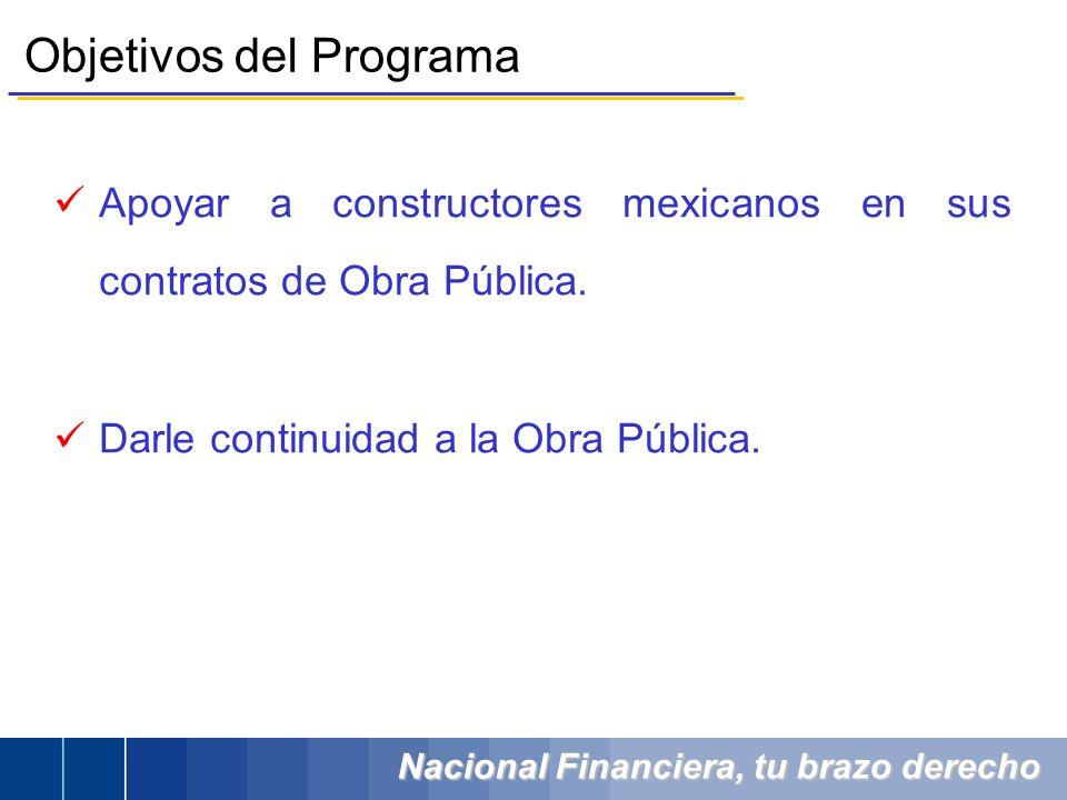 Nacional Financiera, tu brazo derecho Apoyar a constructores mexicanos en sus contratos de Obra Pública.