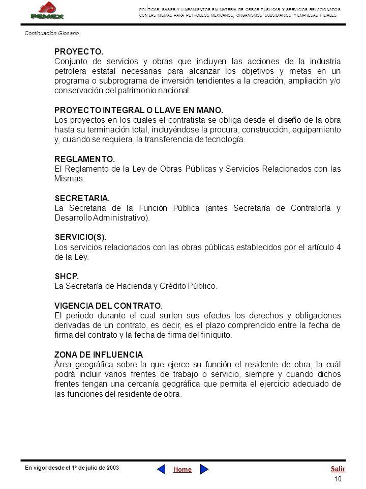 10 POLÍTICAS, BASES Y LINEAMIENTOS EN MATERIA DE OBRAS PÚBLICAS Y SERVICIOS RELACIONADOS CON LAS MISMAS PARA PETRÓLEOS MEXICANOS, ORGANISMOS SUBSIDIAR