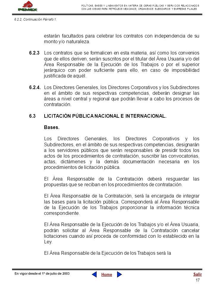 17 POLÍTICAS, BASES Y LINEAMIENTOS EN MATERIA DE OBRAS PÚBLICAS Y SERVICIOS RELACIONADOS CON LAS MISMAS PARA PETRÓLEOS MEXICANOS, ORGANISMOS SUBSIDIAR