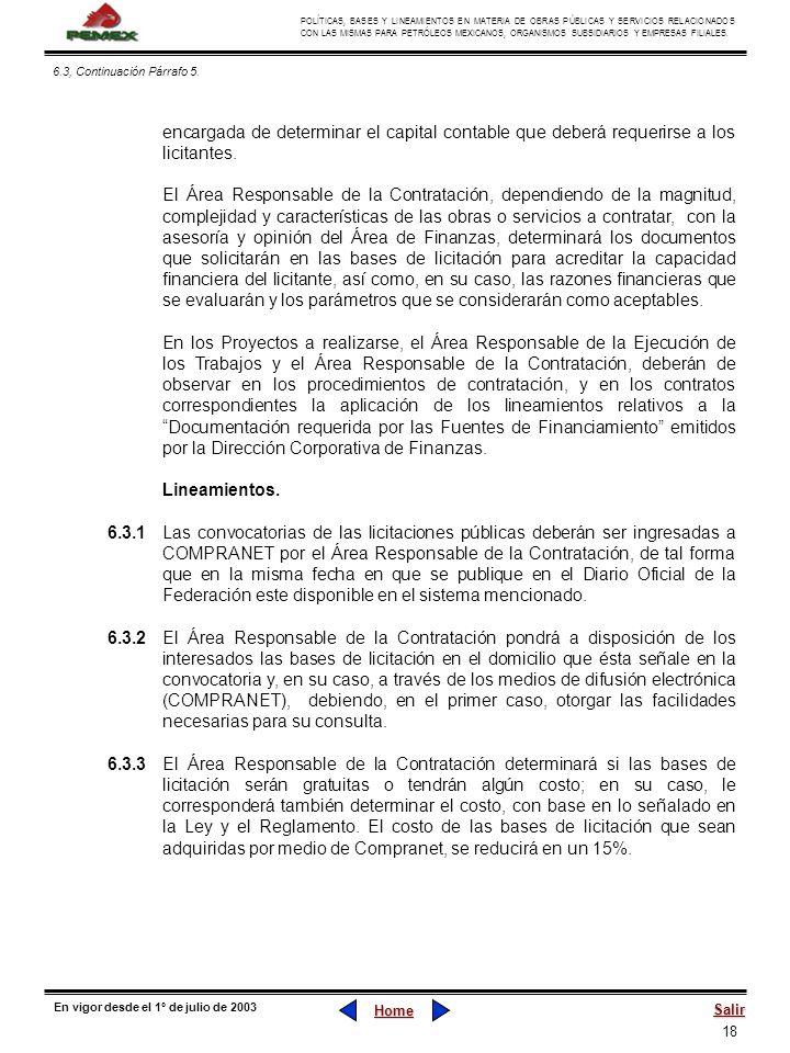 18 POLÍTICAS, BASES Y LINEAMIENTOS EN MATERIA DE OBRAS PÚBLICAS Y SERVICIOS RELACIONADOS CON LAS MISMAS PARA PETRÓLEOS MEXICANOS, ORGANISMOS SUBSIDIAR