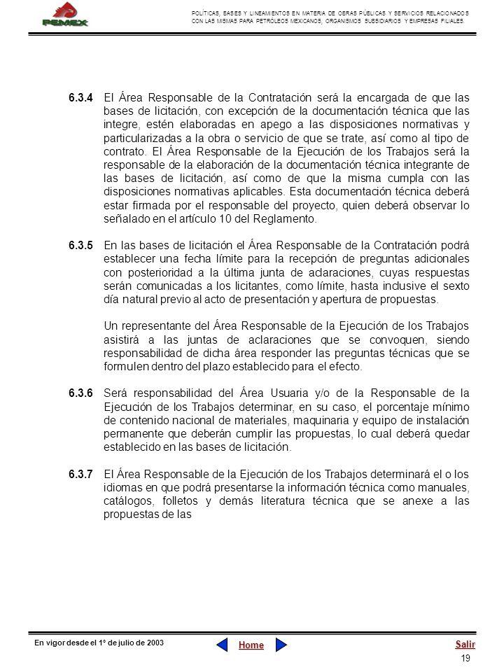 19 POLÍTICAS, BASES Y LINEAMIENTOS EN MATERIA DE OBRAS PÚBLICAS Y SERVICIOS RELACIONADOS CON LAS MISMAS PARA PETRÓLEOS MEXICANOS, ORGANISMOS SUBSIDIAR
