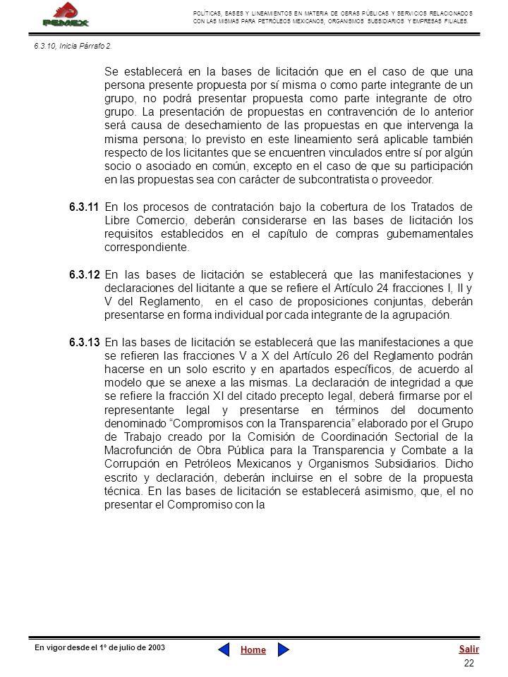 22 POLÍTICAS, BASES Y LINEAMIENTOS EN MATERIA DE OBRAS PÚBLICAS Y SERVICIOS RELACIONADOS CON LAS MISMAS PARA PETRÓLEOS MEXICANOS, ORGANISMOS SUBSIDIAR