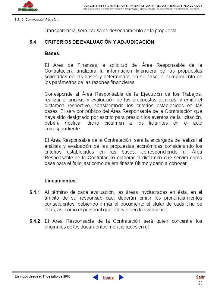 23 POLÍTICAS, BASES Y LINEAMIENTOS EN MATERIA DE OBRAS PÚBLICAS Y SERVICIOS RELACIONADOS CON LAS MISMAS PARA PETRÓLEOS MEXICANOS, ORGANISMOS SUBSIDIAR