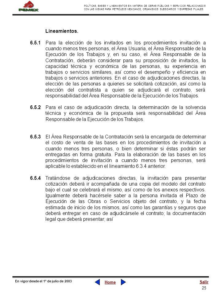 25 POLÍTICAS, BASES Y LINEAMIENTOS EN MATERIA DE OBRAS PÚBLICAS Y SERVICIOS RELACIONADOS CON LAS MISMAS PARA PETRÓLEOS MEXICANOS, ORGANISMOS SUBSIDIAR