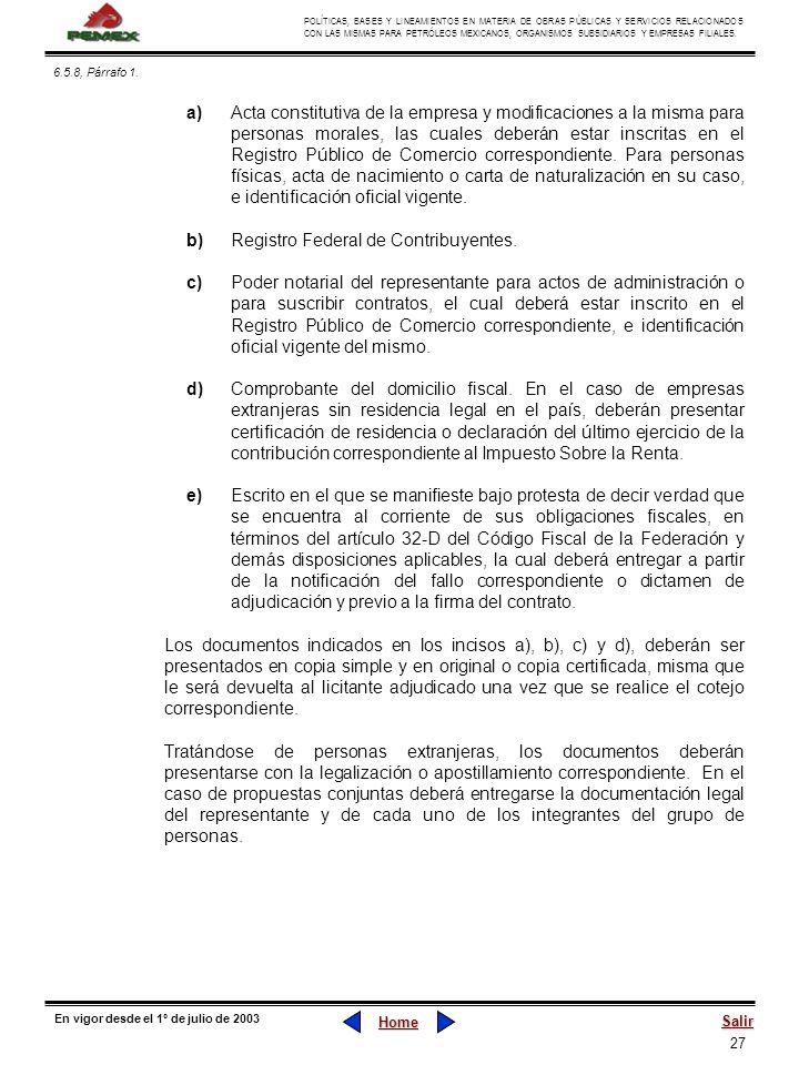 27 POLÍTICAS, BASES Y LINEAMIENTOS EN MATERIA DE OBRAS PÚBLICAS Y SERVICIOS RELACIONADOS CON LAS MISMAS PARA PETRÓLEOS MEXICANOS, ORGANISMOS SUBSIDIAR