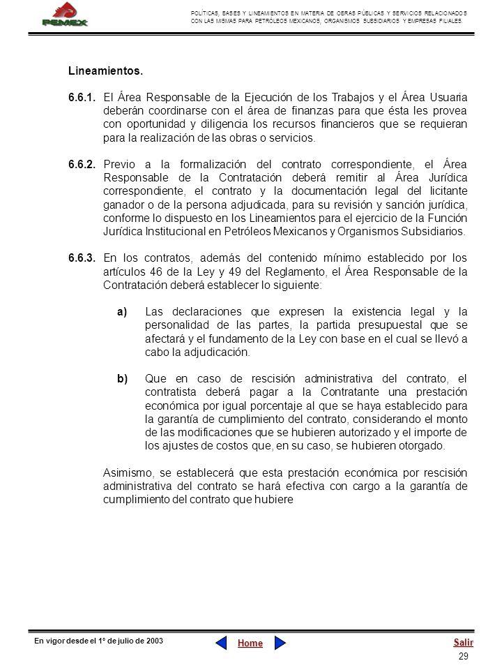29 POLÍTICAS, BASES Y LINEAMIENTOS EN MATERIA DE OBRAS PÚBLICAS Y SERVICIOS RELACIONADOS CON LAS MISMAS PARA PETRÓLEOS MEXICANOS, ORGANISMOS SUBSIDIAR