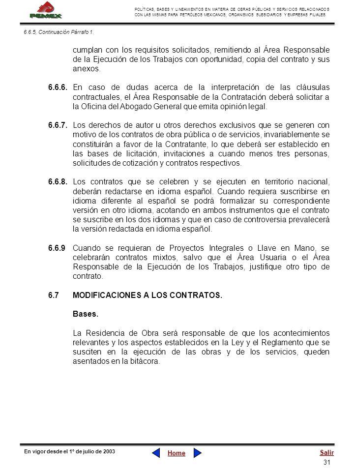 31 POLÍTICAS, BASES Y LINEAMIENTOS EN MATERIA DE OBRAS PÚBLICAS Y SERVICIOS RELACIONADOS CON LAS MISMAS PARA PETRÓLEOS MEXICANOS, ORGANISMOS SUBSIDIAR