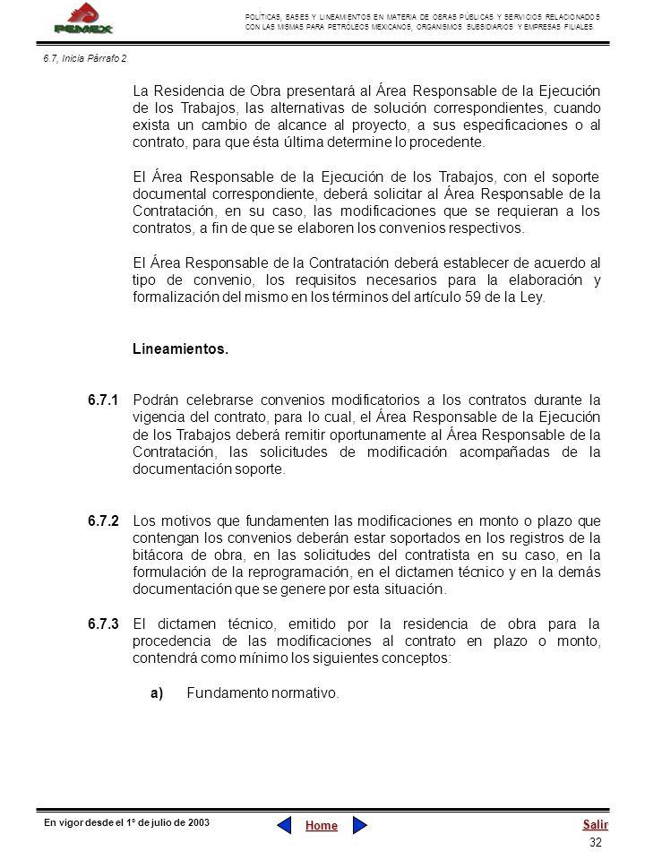 32 POLÍTICAS, BASES Y LINEAMIENTOS EN MATERIA DE OBRAS PÚBLICAS Y SERVICIOS RELACIONADOS CON LAS MISMAS PARA PETRÓLEOS MEXICANOS, ORGANISMOS SUBSIDIAR