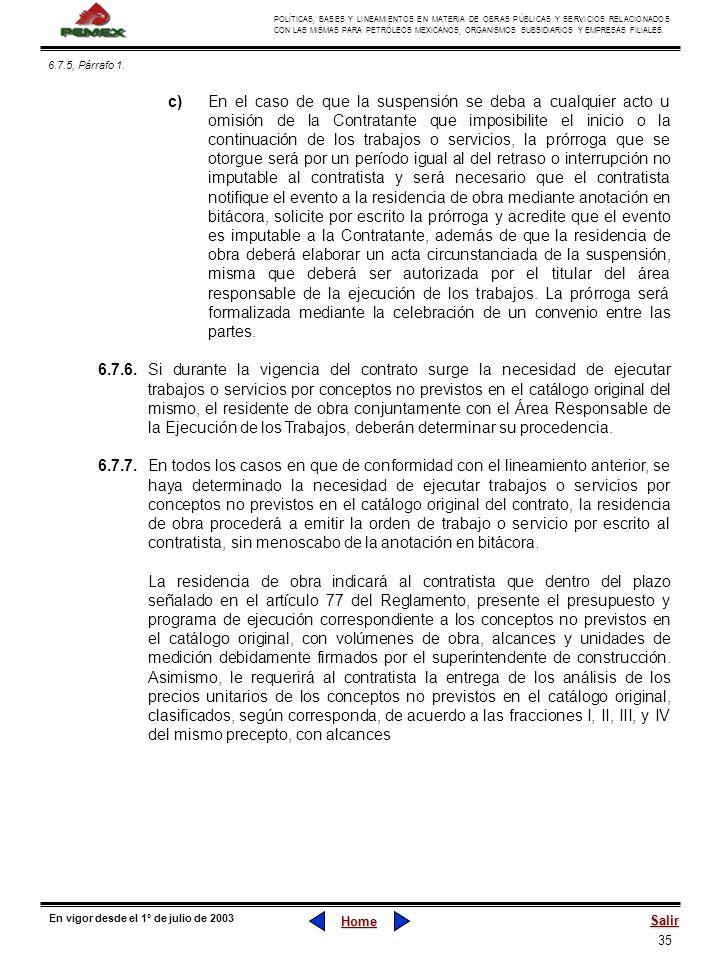 35 POLÍTICAS, BASES Y LINEAMIENTOS EN MATERIA DE OBRAS PÚBLICAS Y SERVICIOS RELACIONADOS CON LAS MISMAS PARA PETRÓLEOS MEXICANOS, ORGANISMOS SUBSIDIAR