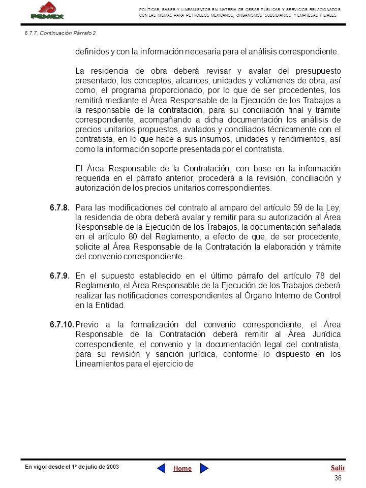 36 POLÍTICAS, BASES Y LINEAMIENTOS EN MATERIA DE OBRAS PÚBLICAS Y SERVICIOS RELACIONADOS CON LAS MISMAS PARA PETRÓLEOS MEXICANOS, ORGANISMOS SUBSIDIAR