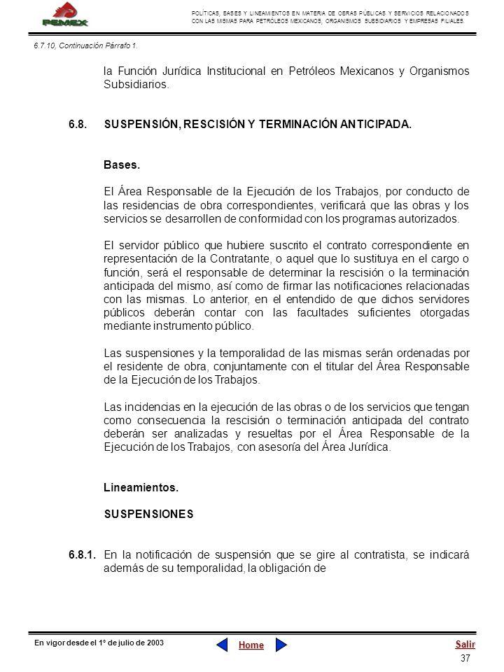 37 POLÍTICAS, BASES Y LINEAMIENTOS EN MATERIA DE OBRAS PÚBLICAS Y SERVICIOS RELACIONADOS CON LAS MISMAS PARA PETRÓLEOS MEXICANOS, ORGANISMOS SUBSIDIAR