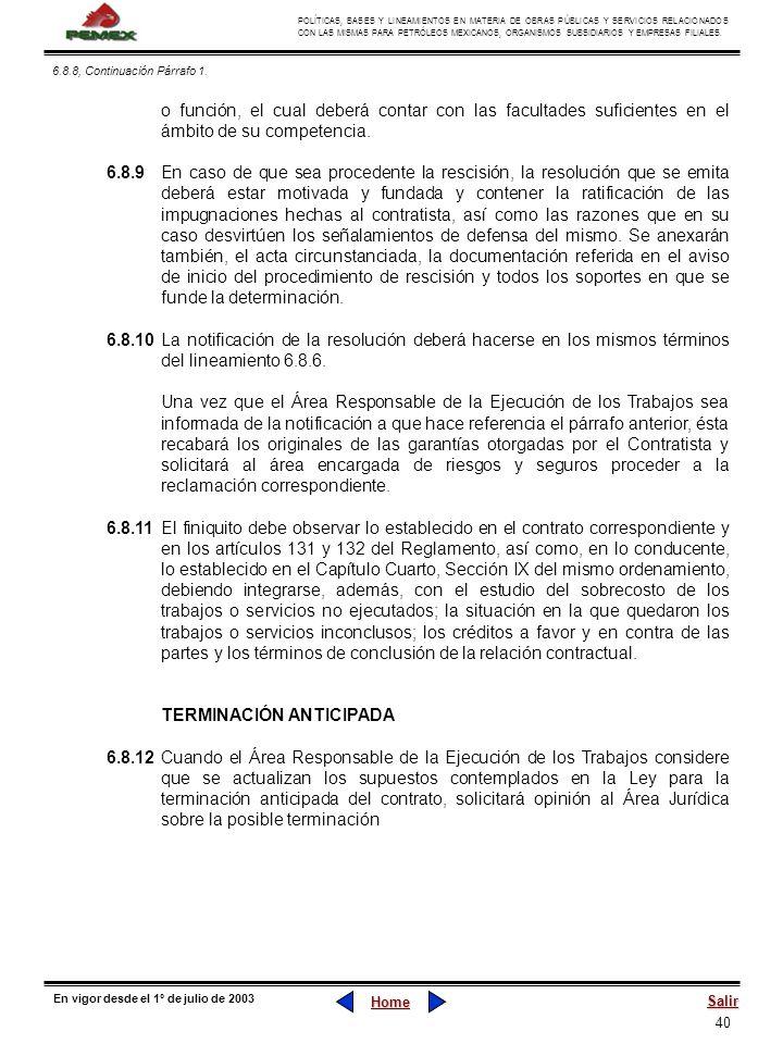 40 POLÍTICAS, BASES Y LINEAMIENTOS EN MATERIA DE OBRAS PÚBLICAS Y SERVICIOS RELACIONADOS CON LAS MISMAS PARA PETRÓLEOS MEXICANOS, ORGANISMOS SUBSIDIAR