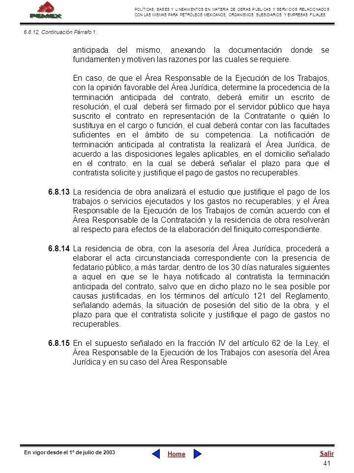 41 POLÍTICAS, BASES Y LINEAMIENTOS EN MATERIA DE OBRAS PÚBLICAS Y SERVICIOS RELACIONADOS CON LAS MISMAS PARA PETRÓLEOS MEXICANOS, ORGANISMOS SUBSIDIAR