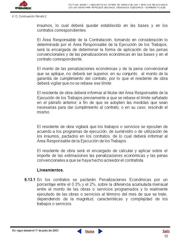 50 POLÍTICAS, BASES Y LINEAMIENTOS EN MATERIA DE OBRAS PÚBLICAS Y SERVICIOS RELACIONADOS CON LAS MISMAS PARA PETRÓLEOS MEXICANOS, ORGANISMOS SUBSIDIAR