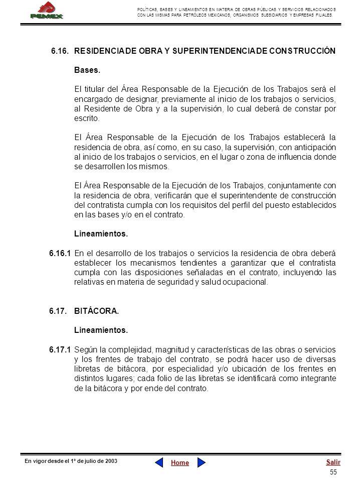 55 POLÍTICAS, BASES Y LINEAMIENTOS EN MATERIA DE OBRAS PÚBLICAS Y SERVICIOS RELACIONADOS CON LAS MISMAS PARA PETRÓLEOS MEXICANOS, ORGANISMOS SUBSIDIAR