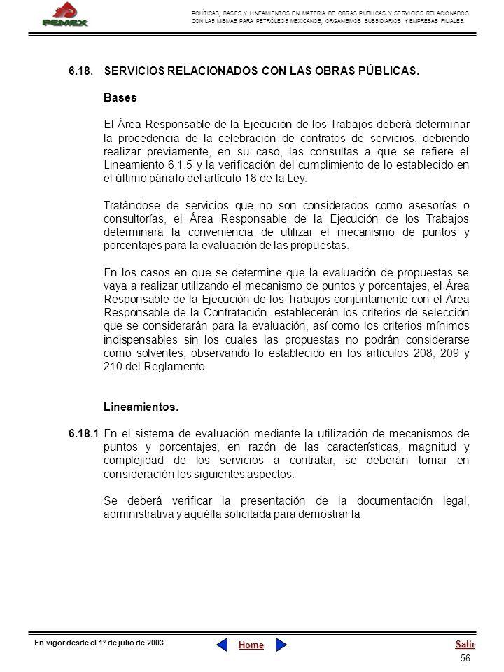 56 POLÍTICAS, BASES Y LINEAMIENTOS EN MATERIA DE OBRAS PÚBLICAS Y SERVICIOS RELACIONADOS CON LAS MISMAS PARA PETRÓLEOS MEXICANOS, ORGANISMOS SUBSIDIAR