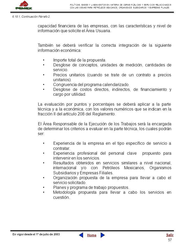 57 POLÍTICAS, BASES Y LINEAMIENTOS EN MATERIA DE OBRAS PÚBLICAS Y SERVICIOS RELACIONADOS CON LAS MISMAS PARA PETRÓLEOS MEXICANOS, ORGANISMOS SUBSIDIAR