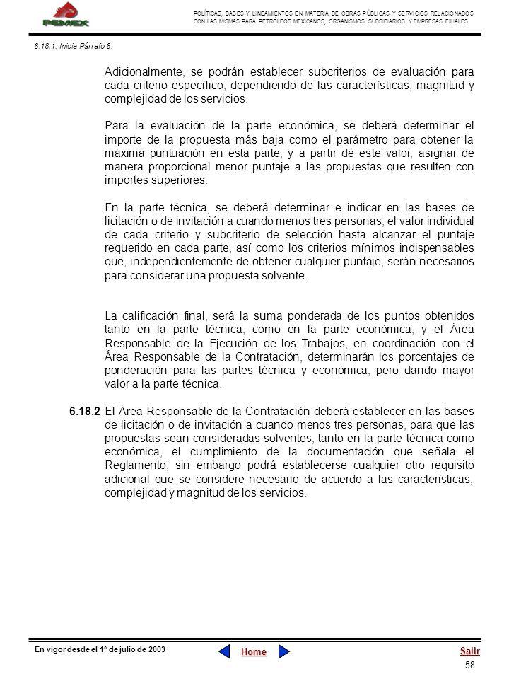 58 POLÍTICAS, BASES Y LINEAMIENTOS EN MATERIA DE OBRAS PÚBLICAS Y SERVICIOS RELACIONADOS CON LAS MISMAS PARA PETRÓLEOS MEXICANOS, ORGANISMOS SUBSIDIAR