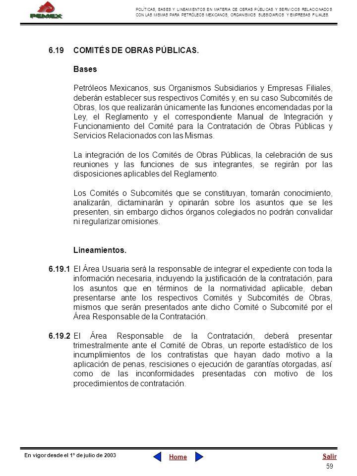 59 POLÍTICAS, BASES Y LINEAMIENTOS EN MATERIA DE OBRAS PÚBLICAS Y SERVICIOS RELACIONADOS CON LAS MISMAS PARA PETRÓLEOS MEXICANOS, ORGANISMOS SUBSIDIAR