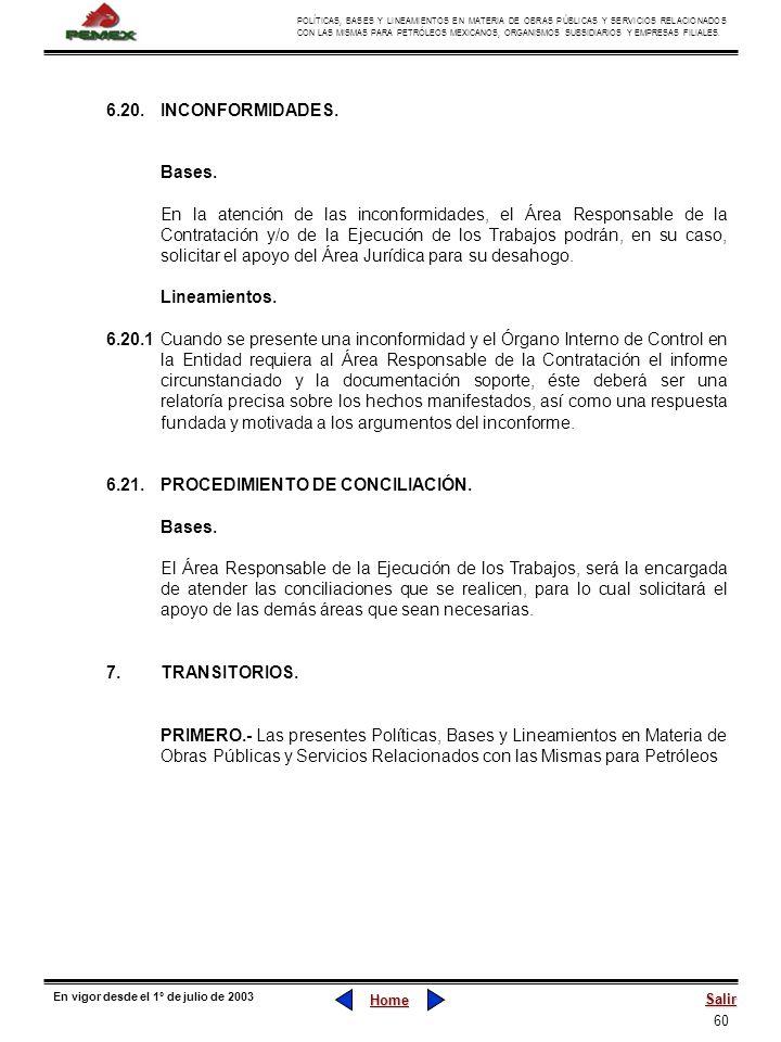60 POLÍTICAS, BASES Y LINEAMIENTOS EN MATERIA DE OBRAS PÚBLICAS Y SERVICIOS RELACIONADOS CON LAS MISMAS PARA PETRÓLEOS MEXICANOS, ORGANISMOS SUBSIDIAR