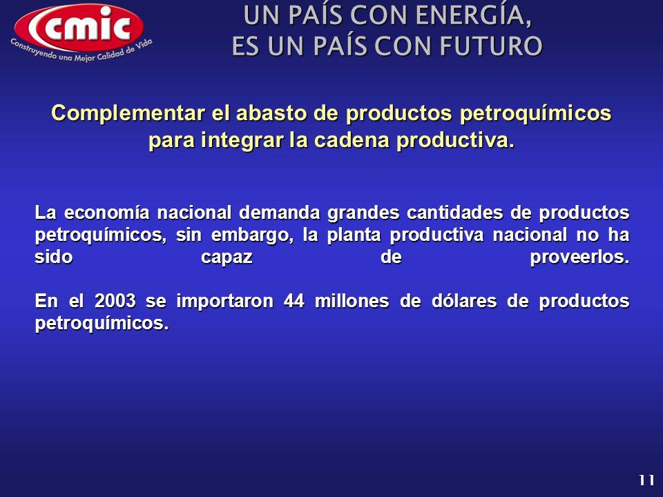UN PAÍS CON ENERGÍA, ES UN PAÍS CON FUTURO 11 La economía nacional demanda grandes cantidades de productos petroquímicos, sin embargo, la planta productiva nacional no ha sido capaz de proveerlos.