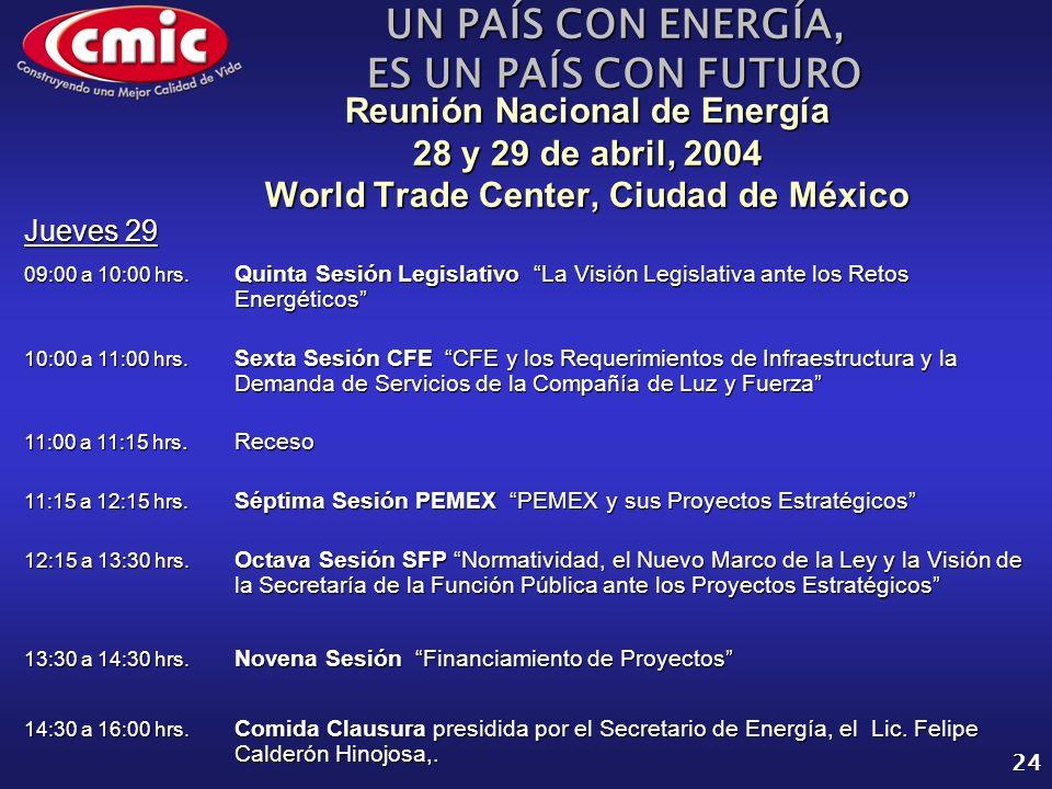 UN PAÍS CON ENERGÍA, ES UN PAÍS CON FUTURO 24 Reunión Nacional de Energía 28 y 29 de abril, 2004 World Trade Center, Ciudad de México Jueves 29 09:00 a 10:00 hrs.