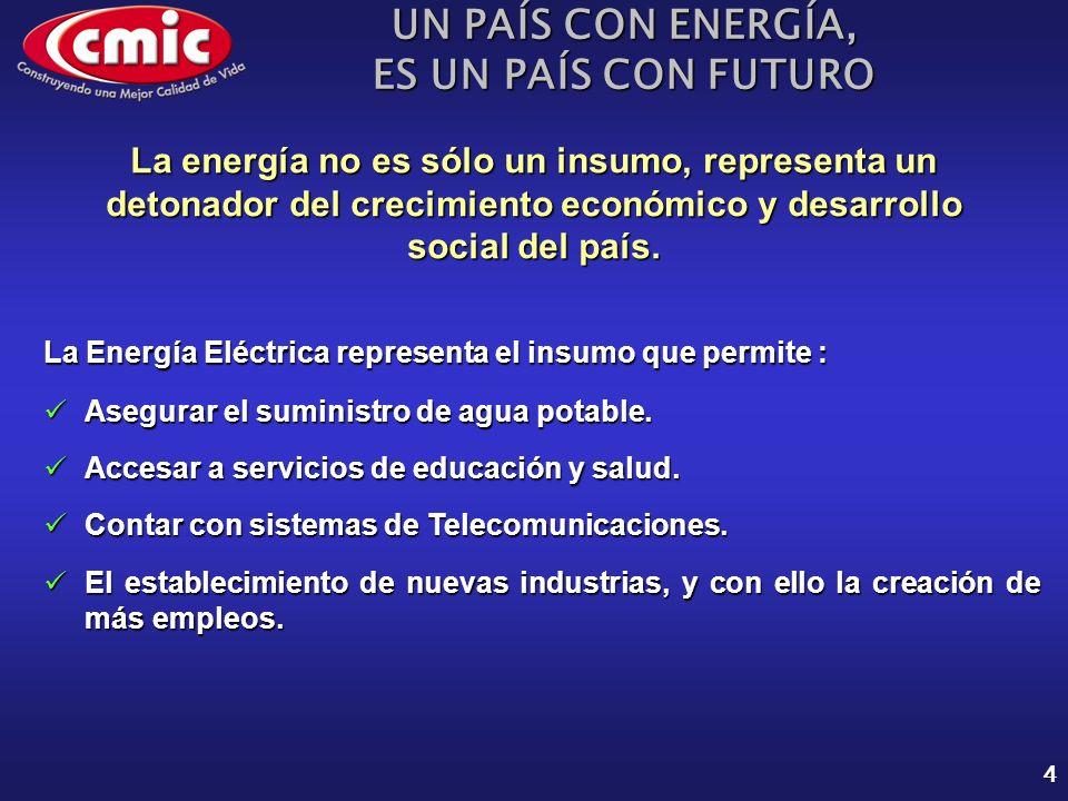 UN PAÍS CON ENERGÍA, ES UN PAÍS CON FUTURO 4 La Energía Eléctrica representa el insumo que permite : Asegurar el suministro de agua potable.