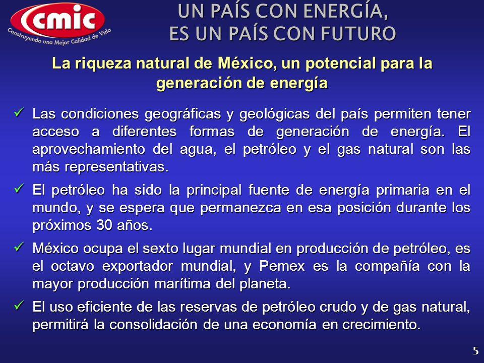 UN PAÍS CON ENERGÍA, ES UN PAÍS CON FUTURO 6 La riqueza natural de México, un potencial para la generación de energía Las plantas hidroeléctricas representan una alternativa viable y sustentable para la generación de energía.