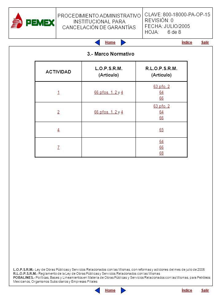 PROCEDIMIENTO ADMINISTRATIVO PARA PLANEACIÓN DE OBRAS Y SERVICIOS CLAVE: 800-18000-PA-OP-15 REVISIÓN: 0 FECHA: JULIO/2005 HOJA: PROCEDIMIENTO ADMINISTRATIVO INSTITUCIONAL PARA CANCELACIÓN DE GARANTÍAS Home Salir Índice Home Salir Índice 3.- Marco Normativo ACTIVIDAD L.O.P.S.R.M.