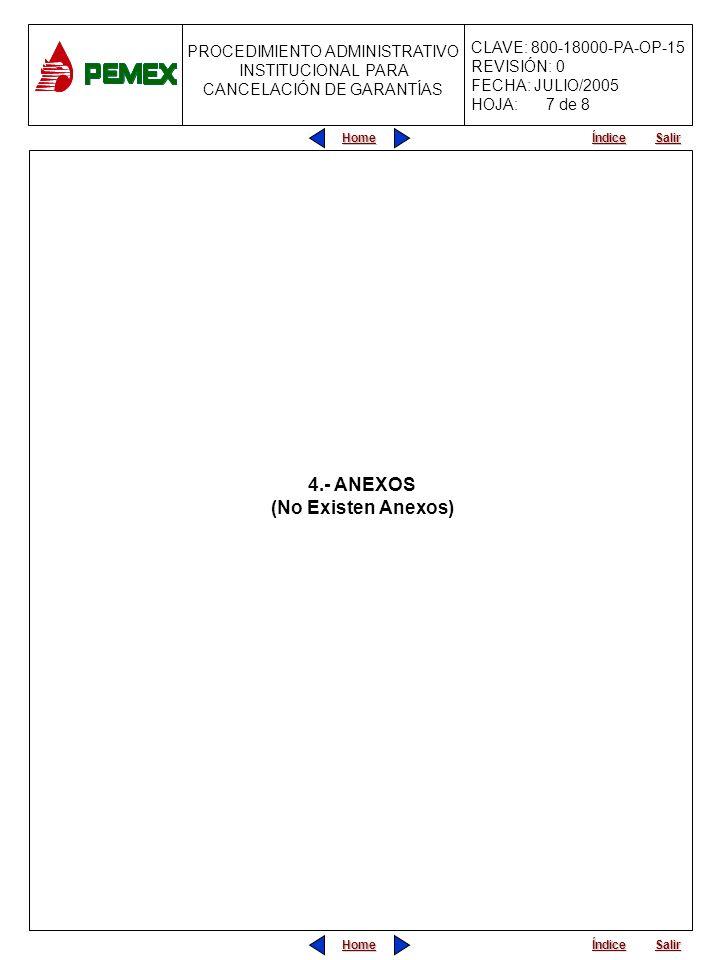 PROCEDIMIENTO ADMINISTRATIVO PARA PLANEACIÓN DE OBRAS Y SERVICIOS CLAVE: 800-18000-PA-OP-15 REVISIÓN: 0 FECHA: JULIO/2005 HOJA: PROCEDIMIENTO ADMINISTRATIVO INSTITUCIONAL PARA CANCELACIÓN DE GARANTÍAS Home Salir Índice Home Salir Índice 4.- ANEXOS (No Existen Anexos) 7 de 8