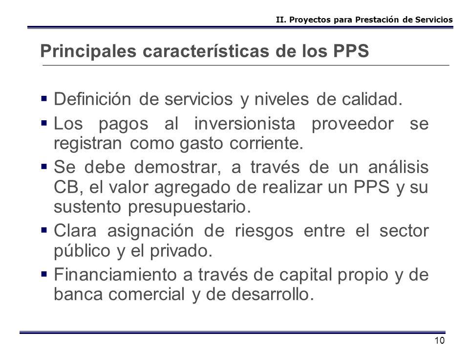 10 Principales características de los PPS Definición de servicios y niveles de calidad. Los pagos al inversionista proveedor se registran como gasto c