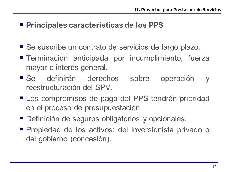 11 Principales características de los PPS Se suscribe un contrato de servicios de largo plazo. Terminación anticipada por incumplimiento, fuerza mayor